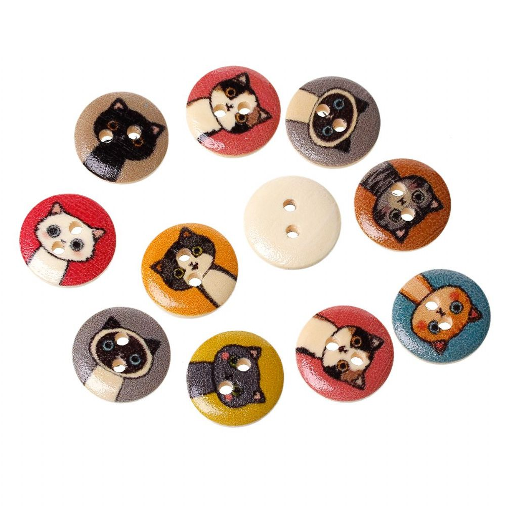 100 Wood  Buttons  Round At Random 2 Holes Cat Pattern 15mm